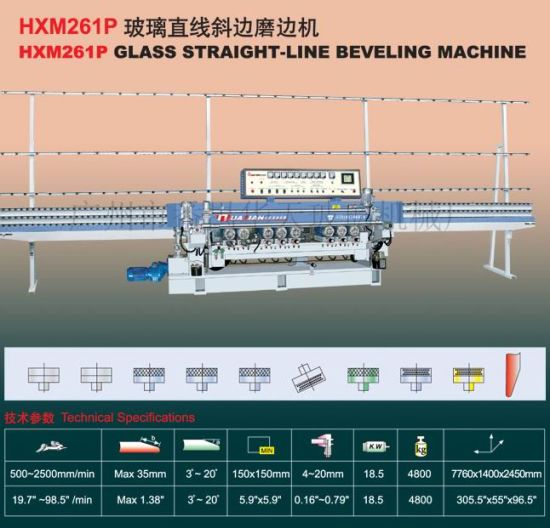 9 Motors Automatic Glass Straight Line Beveler Machine