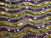 Sequin-Stickerei-Ineinander greifen-Gewebe--Puprle u. Gold bewegt wellenartig (JPX1112)