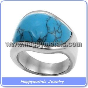 Stainless Steel Turquoise Stone Rings (R8407-1)